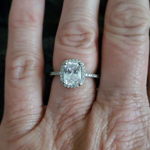 Sterling silver cushion cut CZ halo ring